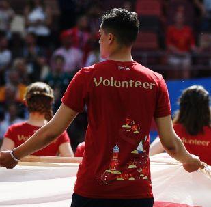 Волонтеры вынесли флаги на поле перед матчем группового этапа чемпионата мира по футболу между сборными Португалии и Марокко.