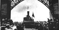 Первый поезд, проехавший от Токмока до Рыбачьего, 1948