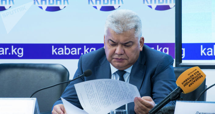 Председатель Государственного комитета национальной безопасности Орозбек Опумбаев на пресс-конференции о ситуации с задержанием бывшего президента Алмазбека Атамбаева