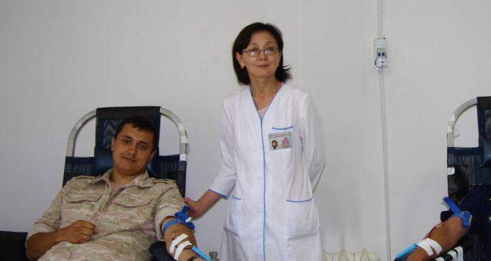 Военнослужащие авиабазы ОДКБ Кант стали донорами крови
