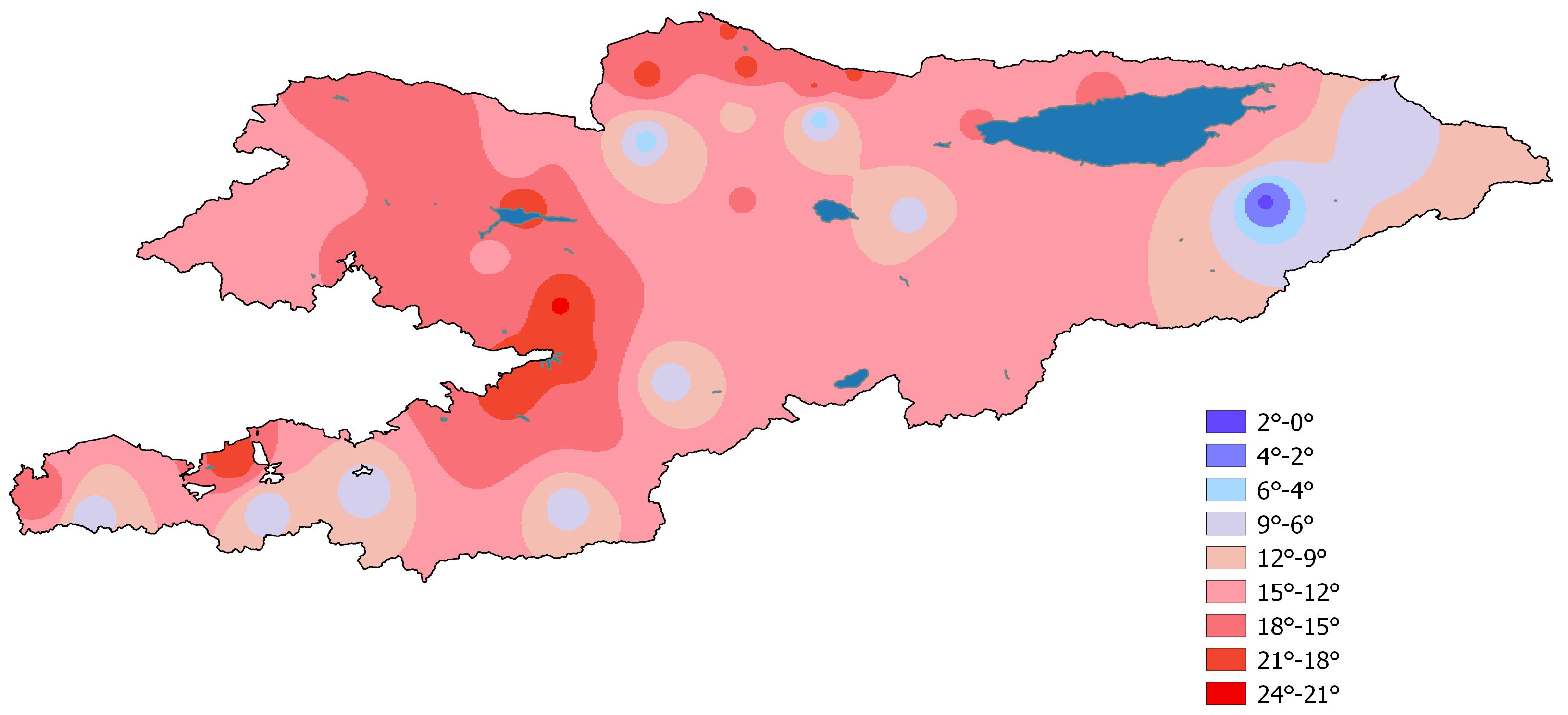 Среднемесячная температура воздуха в сентябре 2019 года