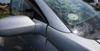 Наклейка об уплате налога на лобовом стекле автомобиля. Архивное фото