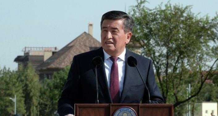 Президент КР Сооронбай Жээнбеков на открытии нового парка в южной части города Бишкек