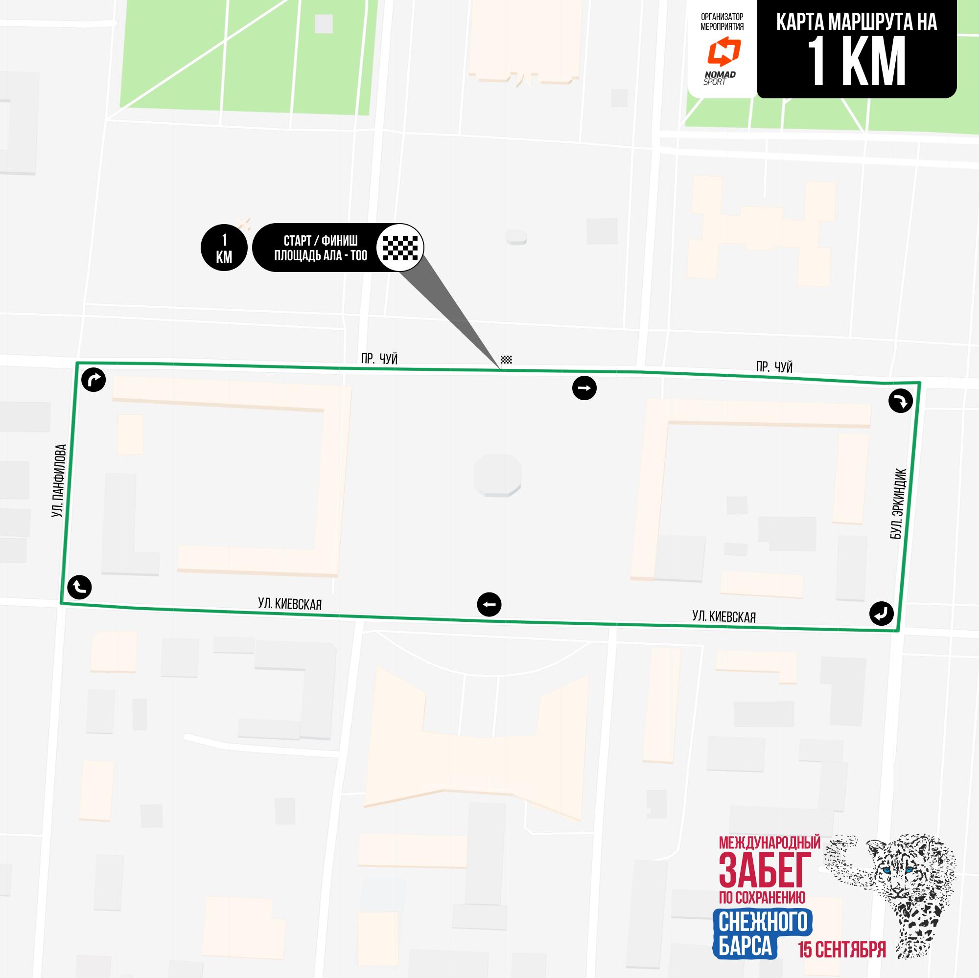 Дистанция в один километр проляжет по проспектам Чуй, Эркиндик и по улицам Киевской, Панфилова. Старт и финиш — на площади Ала-Тоо. Допускаются участники от 12 лет и старше.