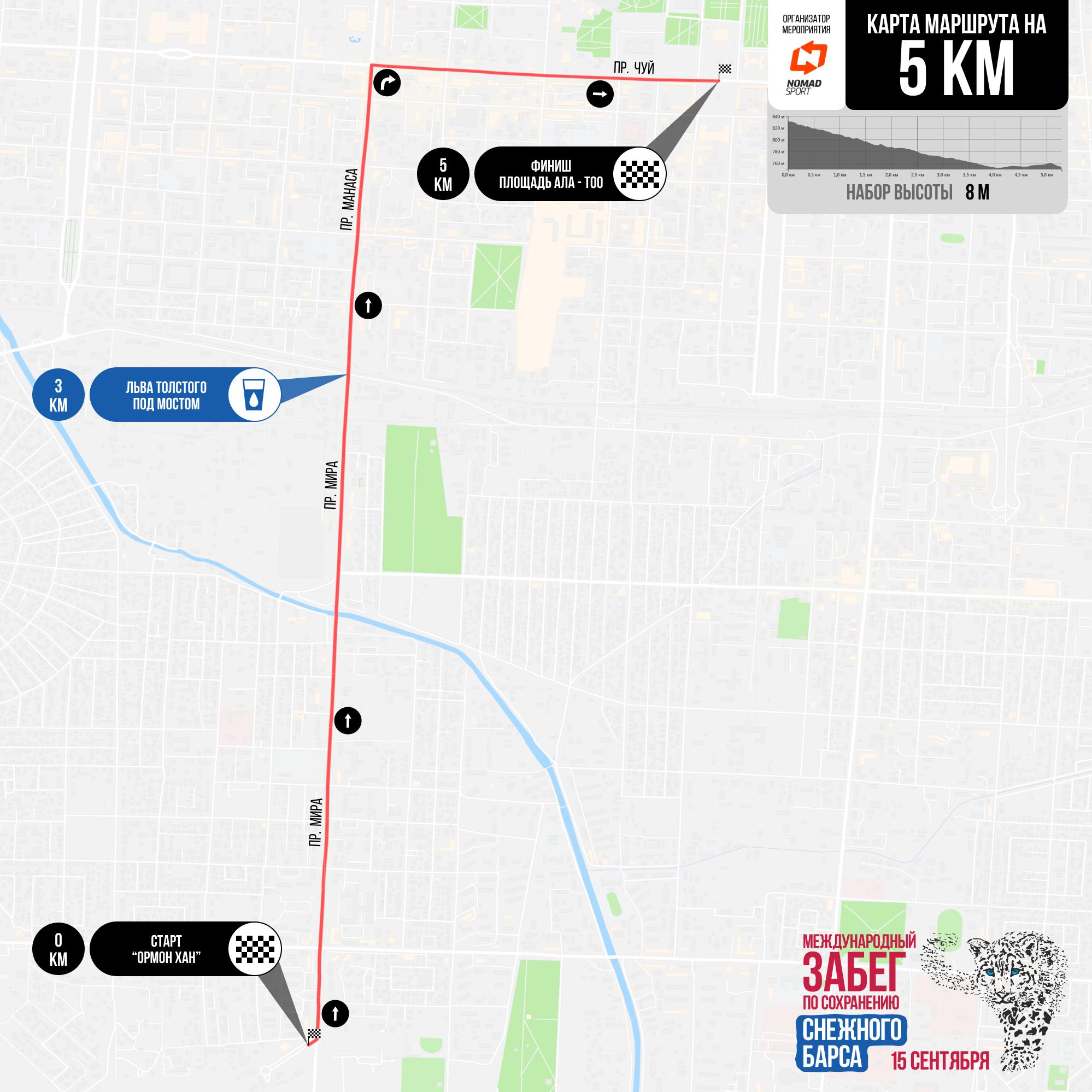 Дистанция в 5 километров начнется возле памятника Ормон хану на проспекте Чингиза Айтматова, затем пойдет вниз до проспекта Чуй и закончится на площади Ала-Тоо. Допускаются участники от 16 лет и старше.