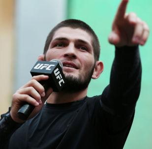 Россиядан чыккан UFC уюмунун чемпиону Хабиб Нурмагомедов. Архив