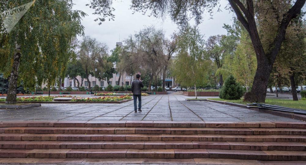 Молодой парень идет по аллее в Бишкеке во время дождя. Архивное фото