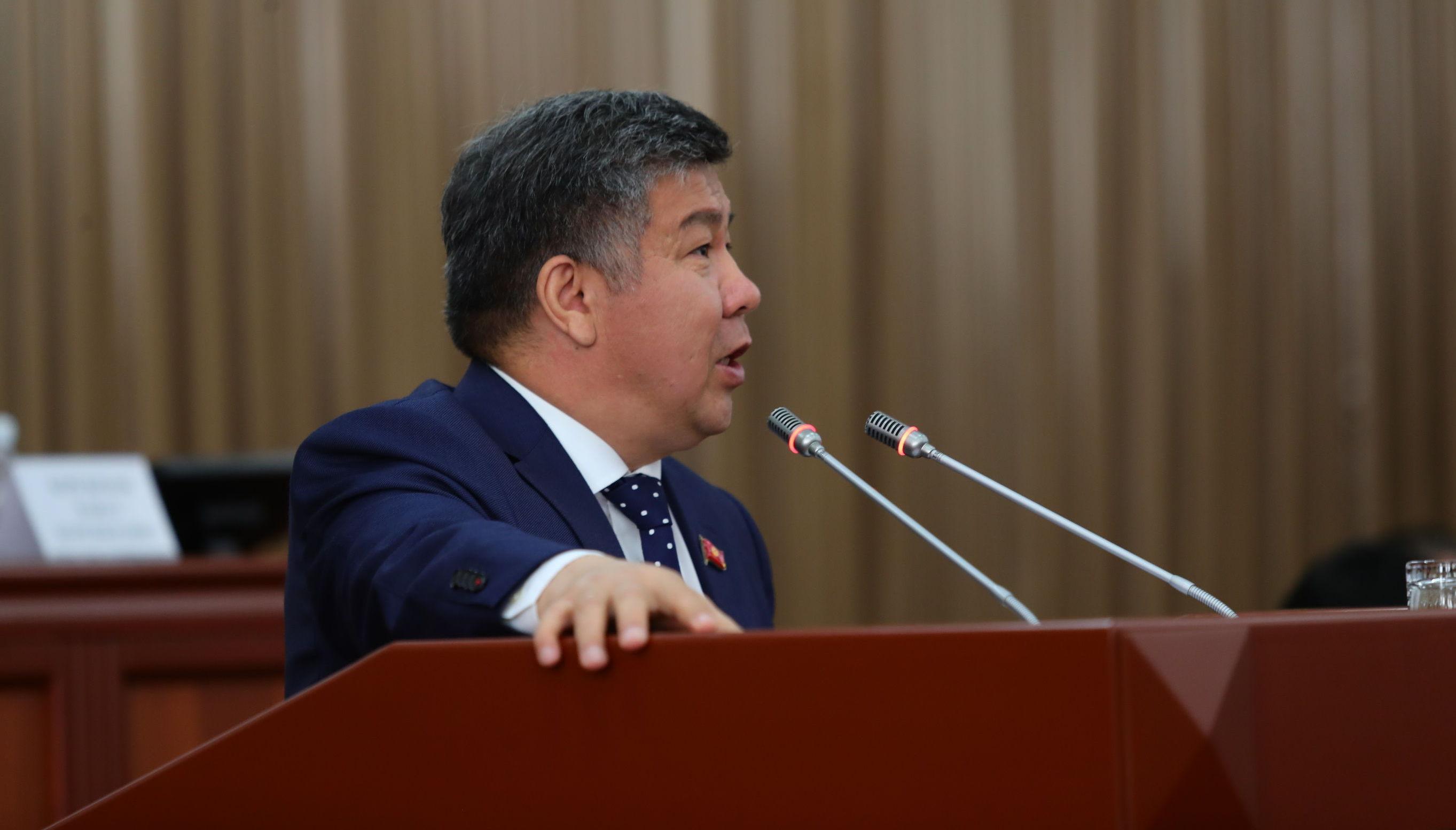 Депутат Жогорку Кенеша Алмамбет Шыкмаматов на заседании