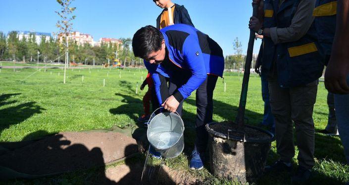 Премьер-министр Кыргызской Республики Мухаммедкалый Абылгазиев вместе с семьей посадил несколько саженцев на территории недавно открытого парка Ынтымак, расположенного в южной части города Бишкек.
