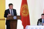 Президент КР Сооронбай Жээнбеков во время встречи с жителями Джети-Огузского района в рамках рабочей поездки в Иссык-Кульскую область