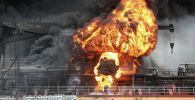 Пожар в грузовом судне в порту в Ульсан, Южная Корея, 28 сентября 2019 года