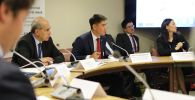 Министр иностранных дел Кыргызстана Чингиз Айдарбеков на мероприятии, посвященное опасностям, связанным с уранодобывающей деятельностью, которую вели раньше в Центральной Азии