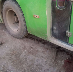 Общественный автобус №18, на котором был совершен наезд на школьника в селе Кун-Туу Чуйской области
