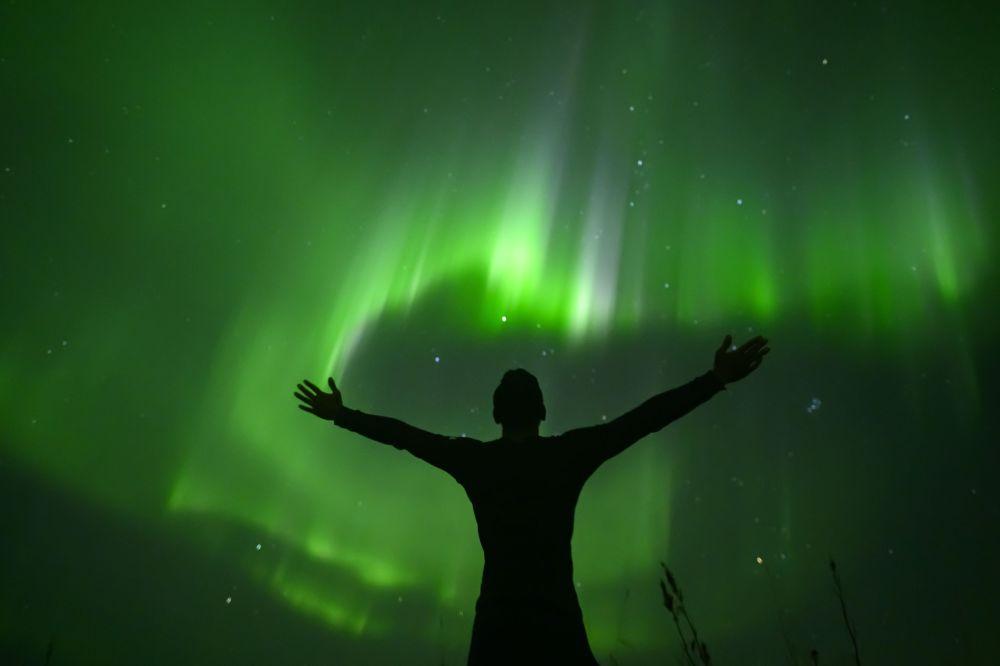 Северное сияние  Лофотенских островах (Норвегия)