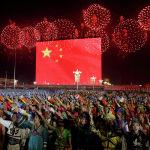 Фейерверк приуроченный к 70-летию образования Китая, в Пекине