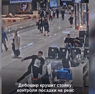 Москвадагы Шереметьево аэропортунда рейске кечигип калган жүргүнчү аба майдандын көзөмөл өткөрүү жайындагы буюм-тайымдарды бир нече секундада талкалап жибергенге үлгүргөн. Бул туурасында РЕН ТВ каналы жазды.