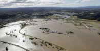 Последствия тайфуна Хагибис в в префектура Мияги. Япония