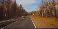 Происшествие случилось в российском городе Ижевске. Видеозапись с авторегистратора показывает, что ДТП произошло на трассе, по бокам которой высажено множество хвойных деревьев.