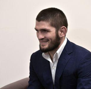Чемпион абсолютного бойцовского чемпионата (UFC) в легком весе Хабиб Нурмагомедов. Архивное фото