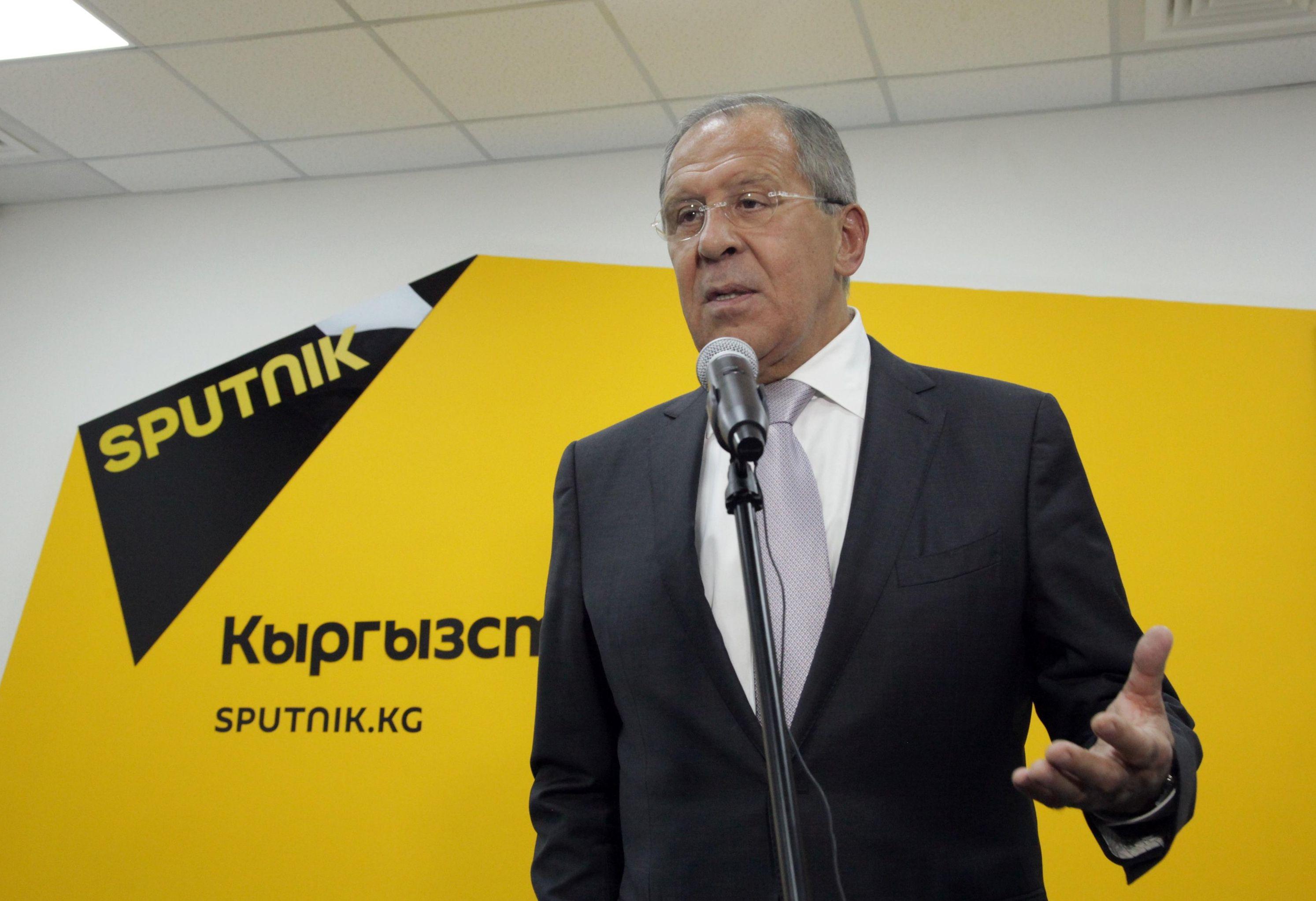 Глава МИД РФ С. Лавров принял участие в церемонии открытия редакционного центра Sputnik Кыргызстан в Бишкеке