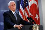 Вице-президент США Майк Пенс на пресс-конференции в посольстве США в Анкаре. Турция, 17 октября 2019 года