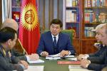 Премьер-министр кр Мухаммедкалый Абылгазиев во время совещания в связи с похищением и последующим убийством столичного предпринимателя Хуфура Абдурахемана