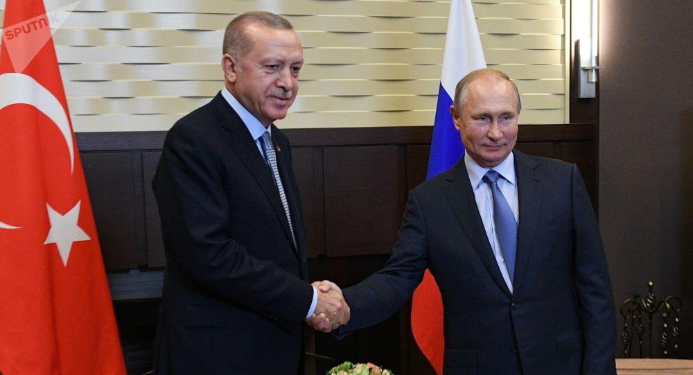 Президент РФ Владимир Путин и президент Турции Реджеп Тайип Эрдоган на пресс-конференции по итогам встречи.