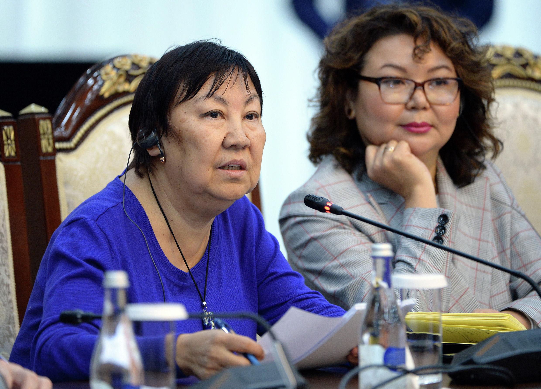 Корреспондент агентства France-Presse по Кыргызстану Толкун Наматбаева во время встречи с президентом
