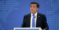 Президент Кыргызстана Сооронбай Жээнбеков выступает на форуме 75 лет Министерству иностранных дел