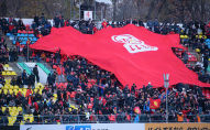 Вот такой перформанс от болельщиков на трибунах — большая футболка сборной Кыргызстана