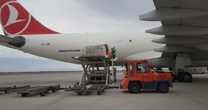 Сегодня, 10 июля, в город Бишкек чартерным рейсом доставлена третья партия закупленных Правительством Кыргызской Республики мобильных кислородных концентраторов в количестве 300 штук и 2000 пульсоксиметров.