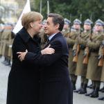 Канцлер Германии Ангела Меркель и президент Франции Николя Саркози перед саммитом в Париже, 2011 год
