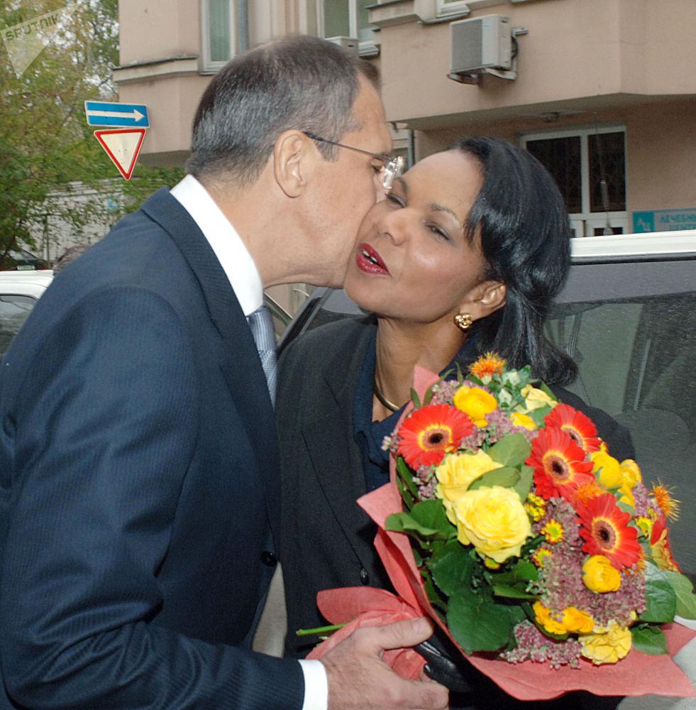 Министр иностранных дел РФ Сергей Лавров и госсекретарь США Кондолиза Райс во время встречи в Москве