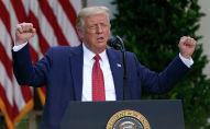 Президент Дональд Трамп выступает на пресс-конференции в Розовом саду Белого дома