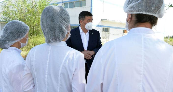 Президент Кыргызской Республики Сооронбай Жээнбеков ознакомился с деятельностью текстильной фабрики ОсОО Текстиль транс в Чуйской области. 16 июля 2020 года