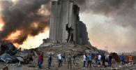 Разрушенный бункер на месте взрыва в порту ливанской столицы.