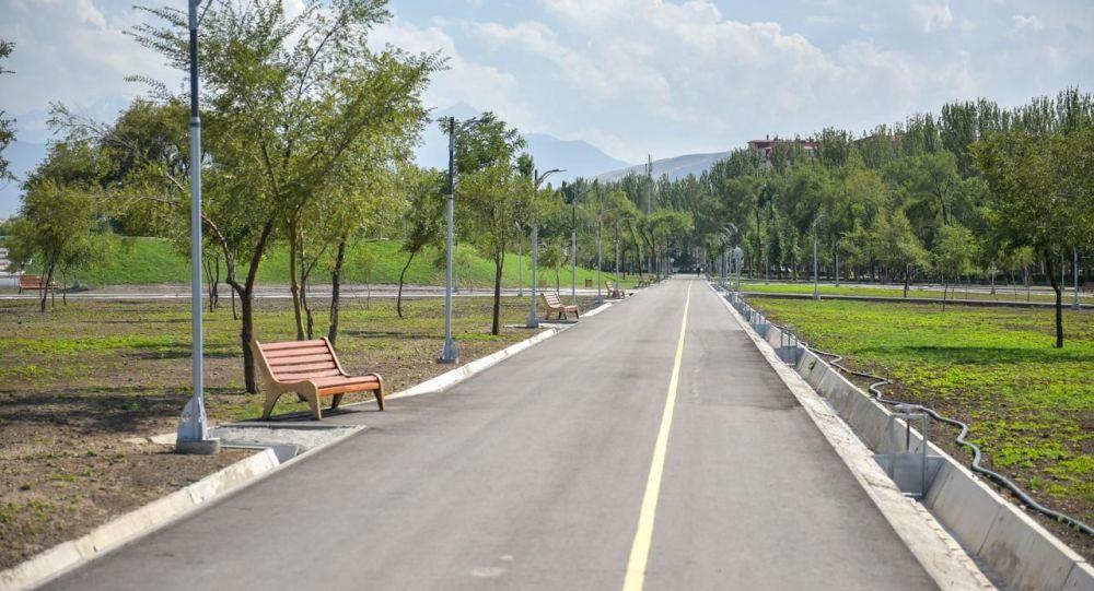 Велодорожка в новом парке в южной части Бишкека. Архивное фото