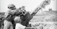 Америкалык армиянын бомбалоосунан  Хам Ронг көпүрөсүн коргоп аткан зенит аткычтар. Архивдик сүрөт