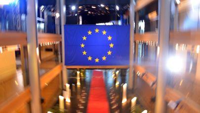 Флаг Евросоюза в главном здании Совета Европы в Страсбурге. Архивное фото