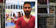 Акция протеста против казни иранского борца Навида Афкари у посольства Ирана в Лондоне