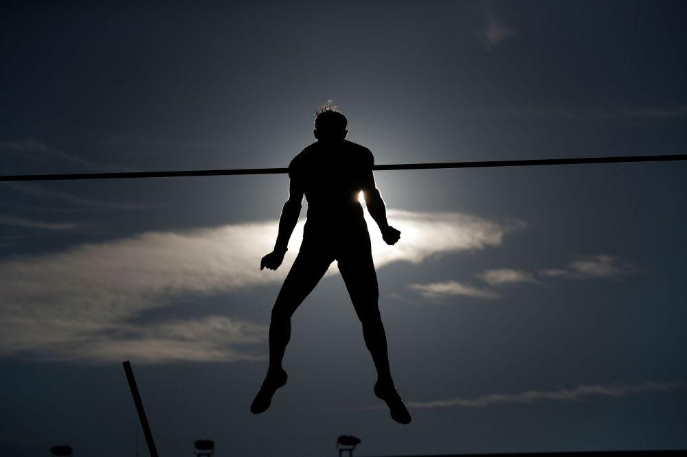 Участник спортивного турнира Golden Spike в чешской Остраве