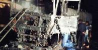 Сгоревший в Баткене грузовик с цистерной нефтепродуктов