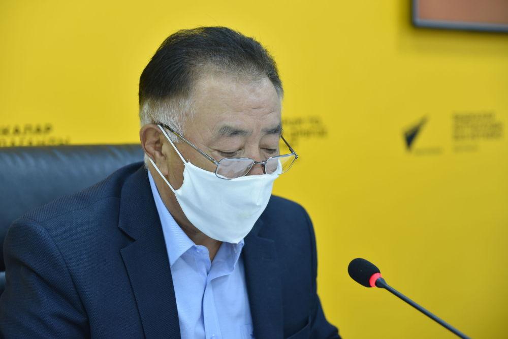 Первый заместитель гендира по расчетам КЭРЦ Бапа Жаныбеков на онлайн-брифинге в мультимедийном пресс-центре Sputnik Кыргызстан