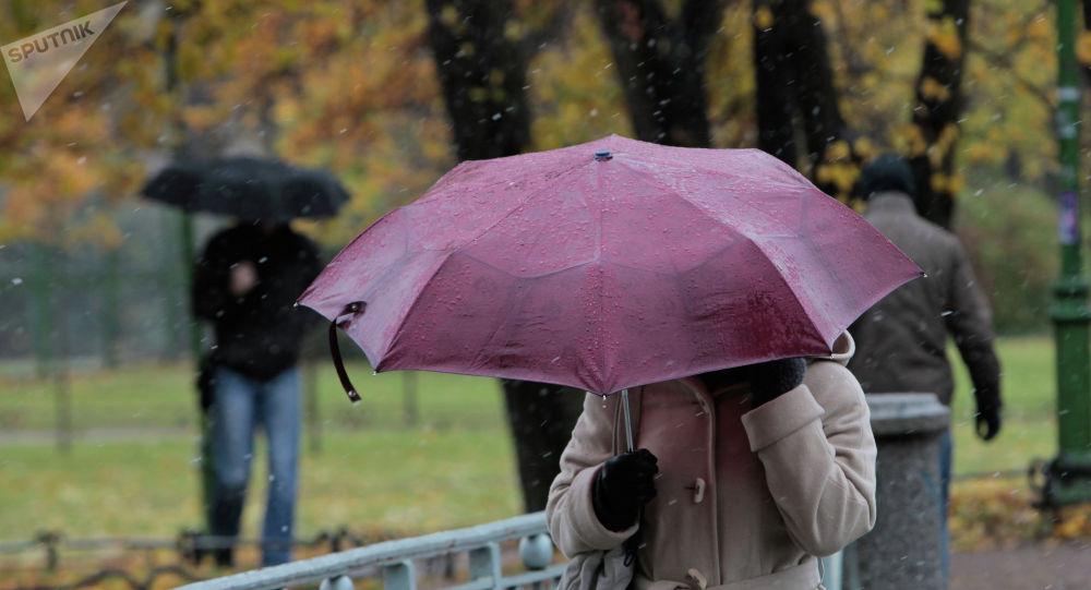 Женщина с зонтом идет по улице во время осеннего снегопада. Архивное фото