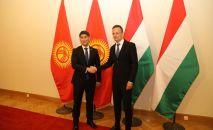 Министр иностранных дел КР Чингиз Айдарбеков на встрече с министром иностранных дел Венгрии Петером Сийярто в Будапеште