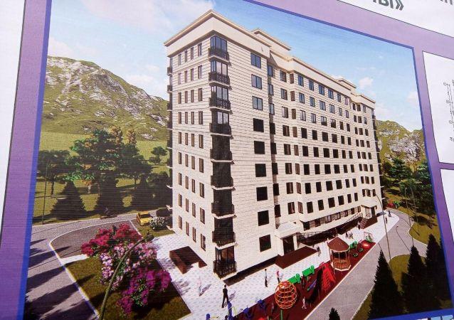 Эскиз современного девятиэтажного дома в Оше, квартиры будут реализовываться через муниципальную ипотечную программу