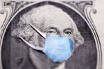 Бир долларлык купюра медициналык маска менен. Иллюстративдик сүрөт