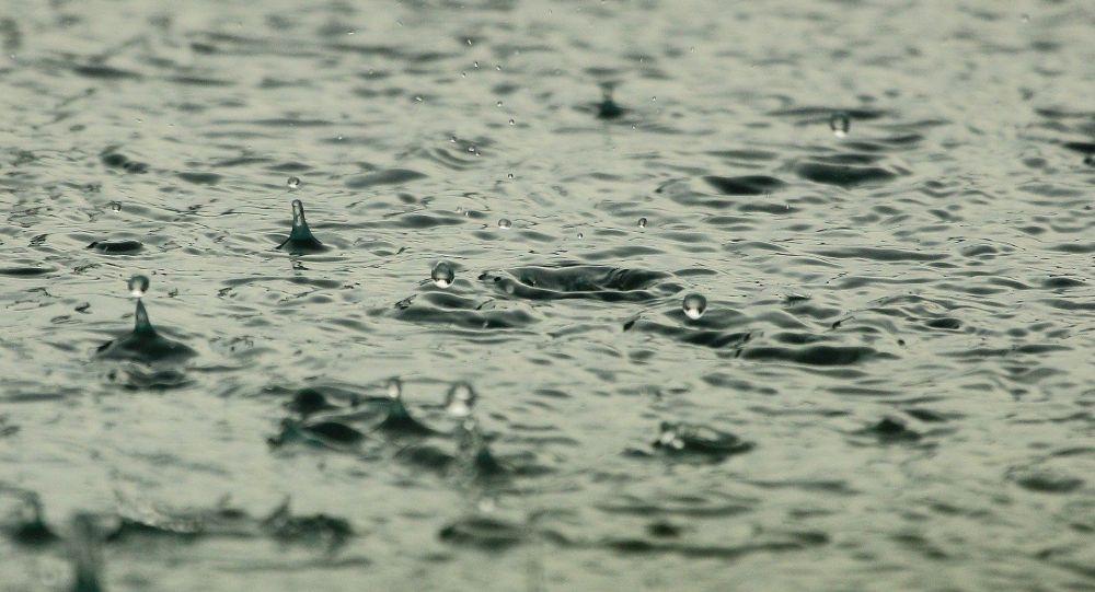 Капли воды во время дождя. Иллюстративное фото