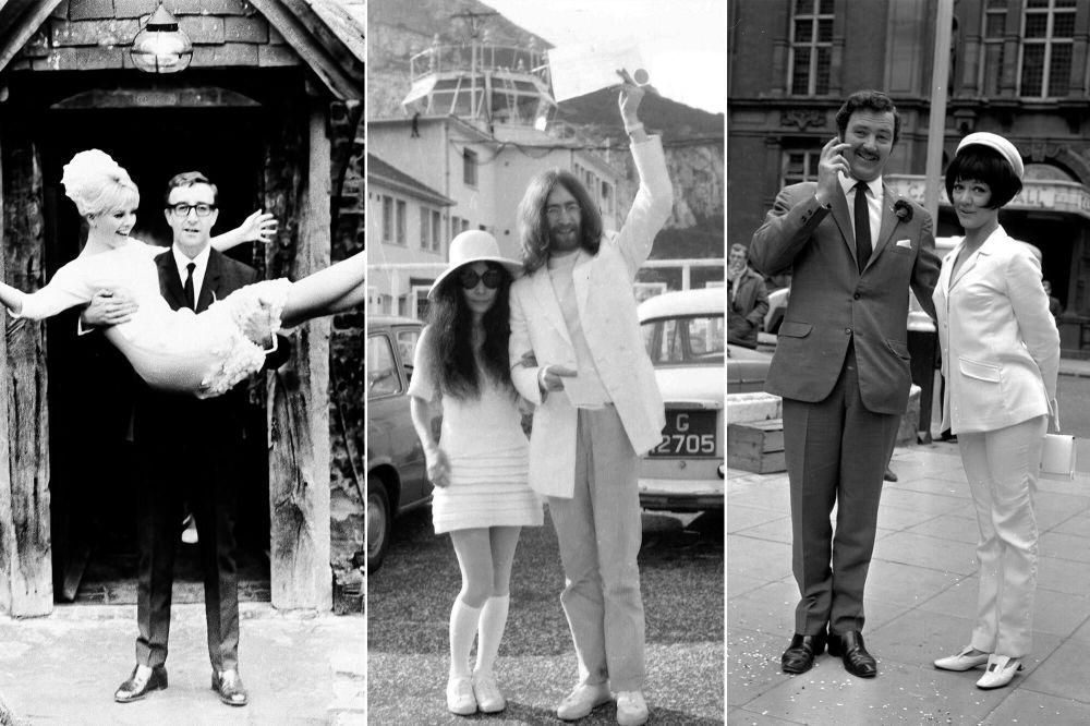Шестидесятые годы XX века. Шведская актриса Бритт Экланд с британским актером Питером Селлерсом; японская художница Йоко Оно с британским рок-музыкантом и участником группы The Beatles Джоном Ленноном; английская актриса Аманда Барри с актером Робином Хантером.