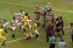 В Бразилии на футбольном матче произошла стычка между футболистами и судьями, в нее вмешались сотрудники ОМОНа.